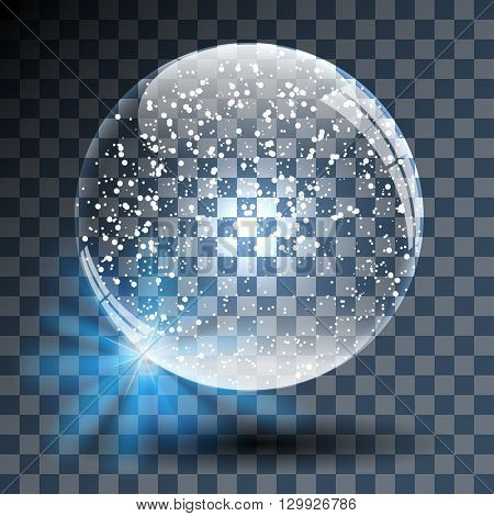Empty Snowy Glass Ball on Transparent Background. Vector Illustration.