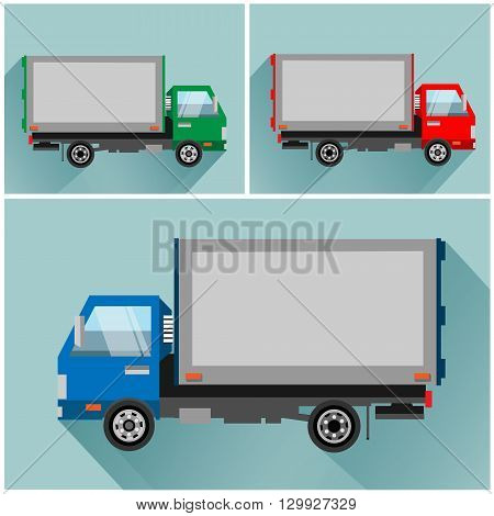 Illustration of a truck in flat style in vector on blue background