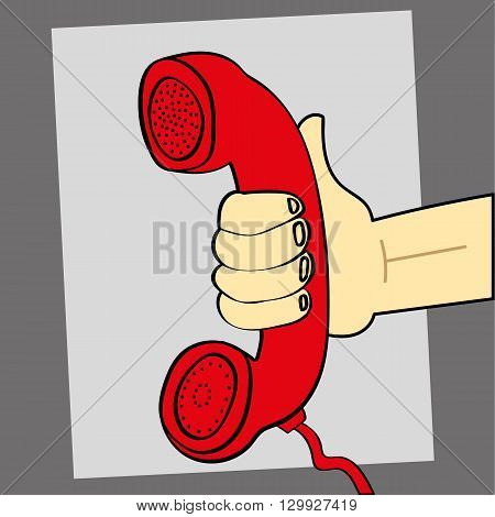 Vector illustration of a hand holding out a retro style red telephone for someone to listen and take the call