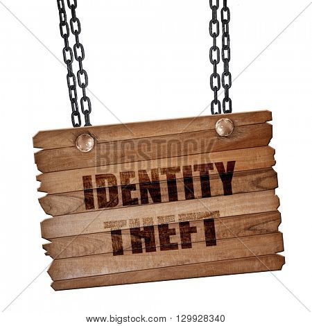 Identity theft fraud background, 3D rendering, wooden board on a