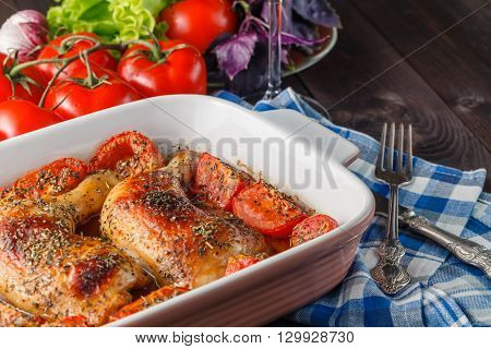 Baked chicken with teriyaki sauce on table