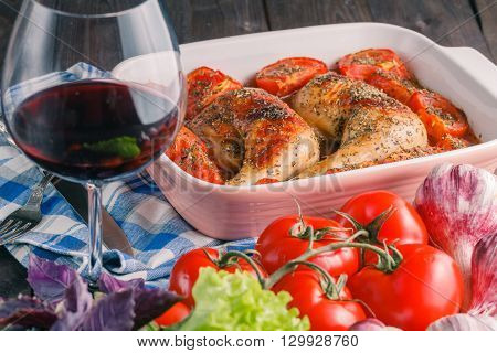 Teriyaki chicken recipe with vegetables and wine