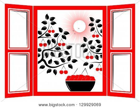 vector bowl of cherries in the window and cherry trees outside the window