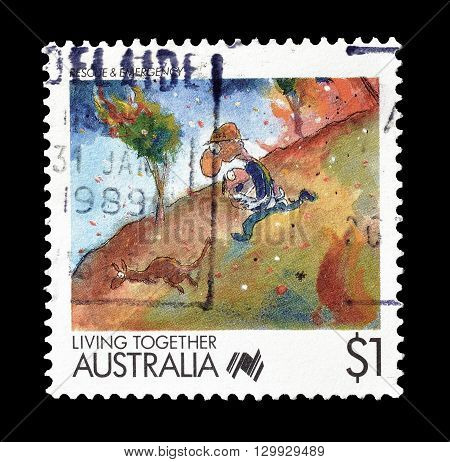 AUSTRALIA - CIRCA : Cancelled postage stamp printed by Australia, that shows Rescue and escape.