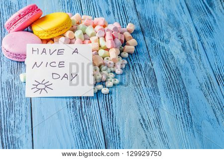 Party Decoration. Sweets, Marshmallow And Note Have A Nice Day
