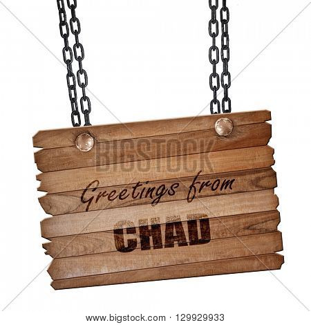 Greetings from chad, 3D rendering, wooden board on a grunge chai