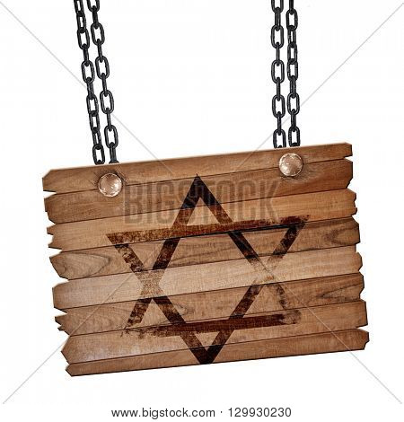 Star of david, 3D rendering, wooden board on a grunge chain