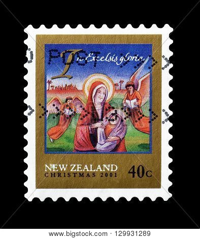 NEW ZEALAND - CIRCA : Cancelled postage stamp printed by New Zealand, that shows Christmas motive.