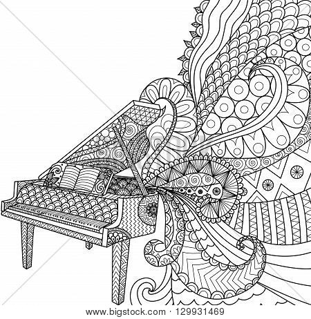 Doodles design of piano for coloring book for adult, poster, cards, design element, T- Shirt graphic and so on - Stock vector