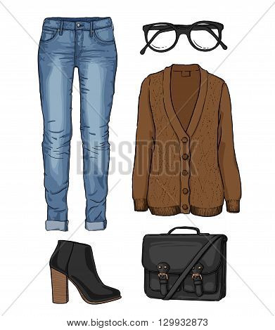 Lady fashion set of autumn, spring, winter season outfit. Illustration stylish and trendy clothing. Cardigan, denim, glasses, schoolbag, shoes, boots