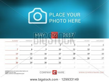 Desk Calendar For 2017 Year. Vector Print Template With Place For Photo. May. Week Starts Sunday