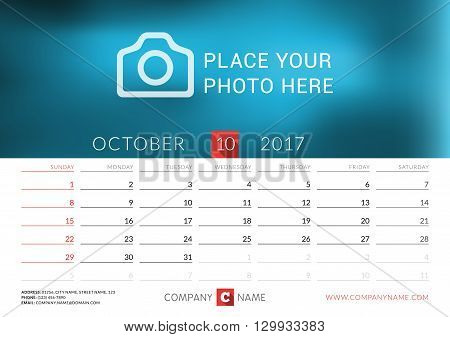 Desk Calendar For 2017 Year. Vector Print Template With Place For Photo. October. Week Starts Sunday
