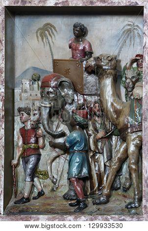 STITAR, CROATIA - AUGUST 27: Nativity Scene, the coming of the Kings, altarpiece in the church of Saint Matthew in Stitar, Croatia on August 27, 2015