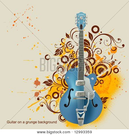 Guitar on a floral background