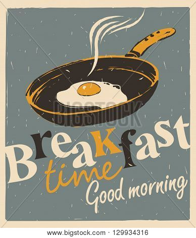 Vector banner for breakfast time with a frying pan and fried eggs in retro style