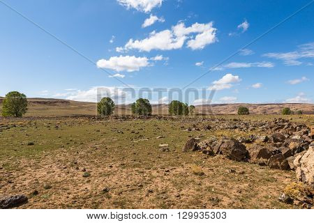Beautiful Moroccan landscape, Sahara desert, stones against the sky
