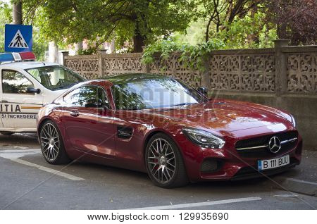 Bucharest, ROMANIA - April 22 2016: Mercedes-Benz AMG GT S on the street. BUCHAREST -April 22 2016