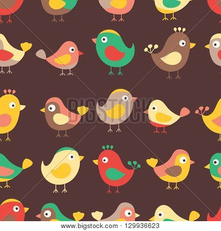 Hand drawn seamless pattern with cute birds. Fun birds for kids design. Vector. Autmn colors - red yellow brawn and green. On brawn background.