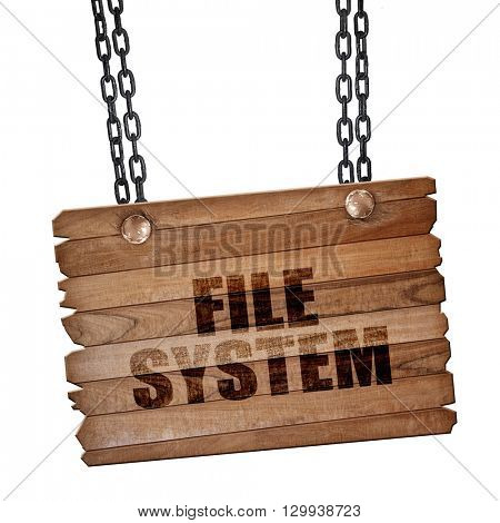 file system, 3D rendering, wooden board on a grunge chain