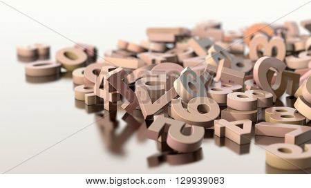 scattered numbers, 3d illustration