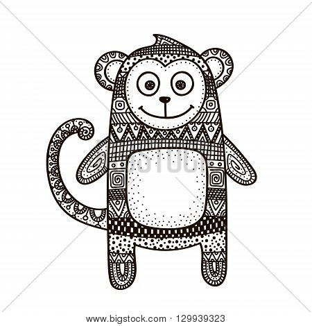 Vector hand drawn doodle monkey. Figure with doodle ornament. Ethnic tribal monkey. Cute design for children. Black on white.