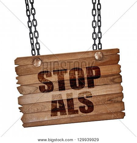 stop when, 3D rendering, wooden board on a grunge chain