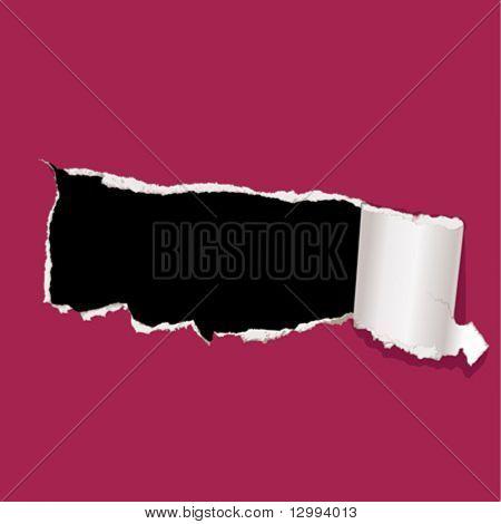 Tear paper. Hole.