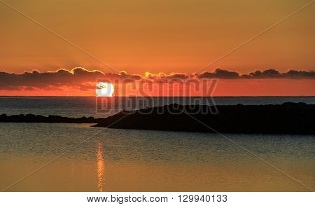 Sunrise over caleta de fuste beach Fuerteventura Spain