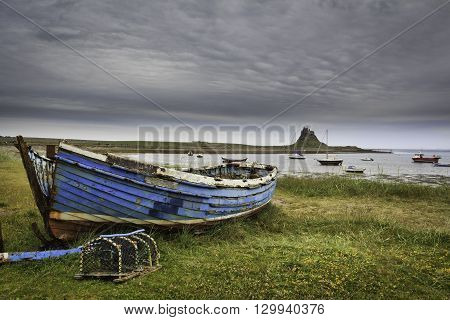 View of Lindisfarne Castle holy island northumberland