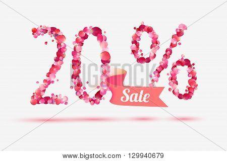 twenty (20) percents sale. Vector digits of pink rose petals