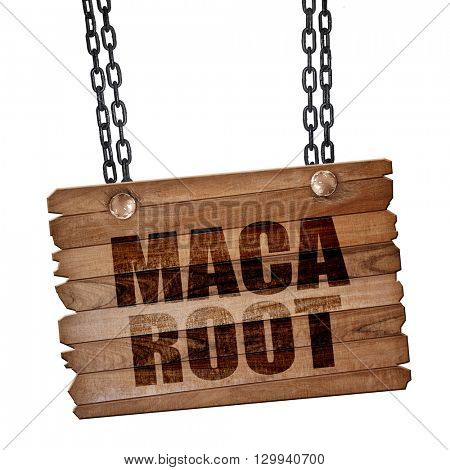 maca root, 3D rendering, wooden board on a grunge chain