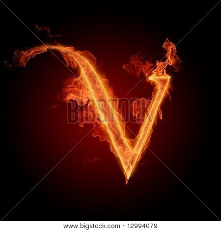 Fiery font. Letter V