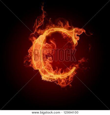 Fiery font. Letter C