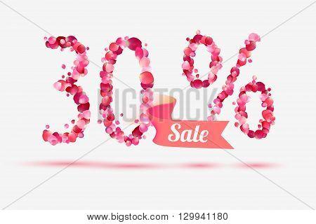 thirty (30) percents sale. Vector digits of pink rose petals