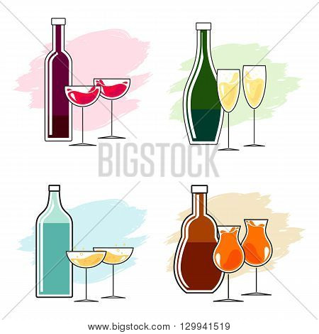 Set of alcoholic beverages and glasses. Simple line design. Bottle and two glasses toast clink. Vector.