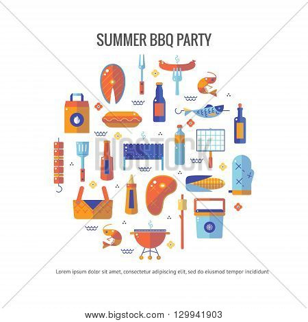 Summer barbecue and grill concept flyer. Colorful flat vector illustration