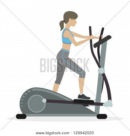 Fitness girl with elliptical cross trainer cardio machine. Vector.