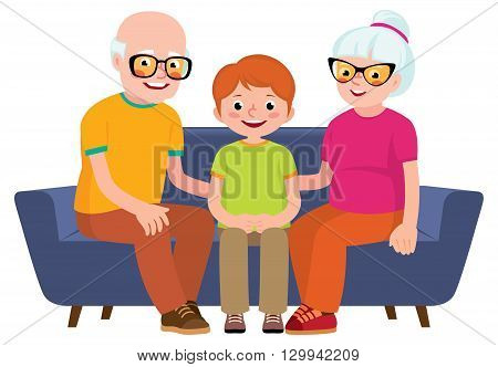 Family portrait of a grandmother grandfather and grandson sitting together on a sofa