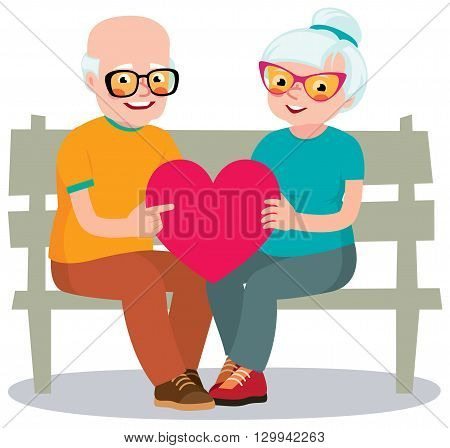 Senior married couple sits on a bench holding a heart symbol Stock vector illustration