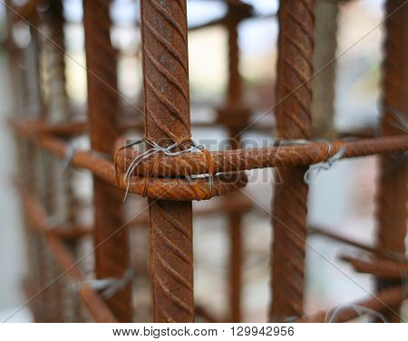 Photo of rusted steel rod for construction job.