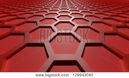 3D rendering red color abstract cellular lattice background