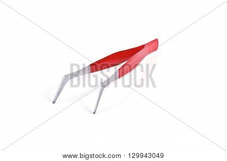 Tweezers with a comfortable non-slip coating covered with red plastic isolated on white background