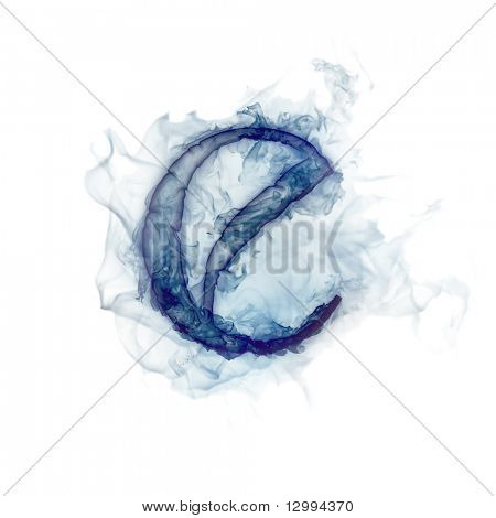 Letter E. Ink in water.