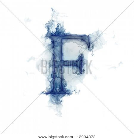 Letter F. Ink in water.