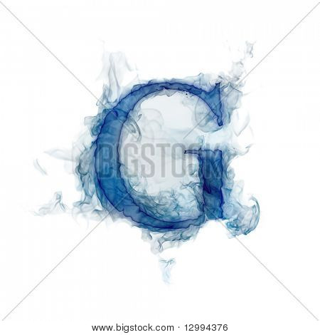 Letter G. Ink in water.