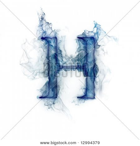 Letter H. Ink in water.