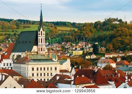 St. Vitus Church and cityscape Cesky Krumlov, Czech republic. Sunny autumn day.