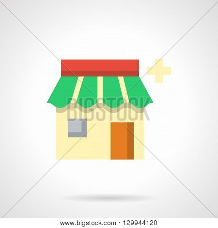 Pharmacy building with green roof. Drugstore button. Pharmacology online consultation and helping, diagnosis and treatment. Medicine and healthcare concept. Flat color style vector icon.