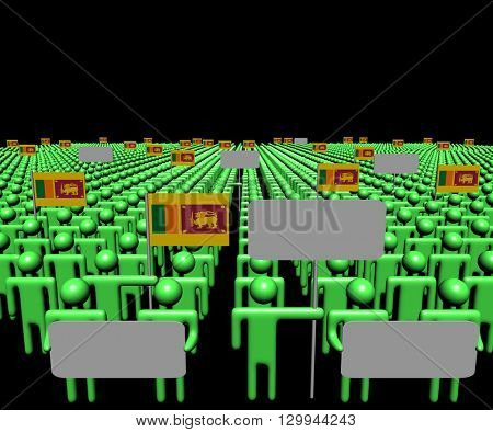 Crowd of people with signs and Sri Lankan flags 3d illustration