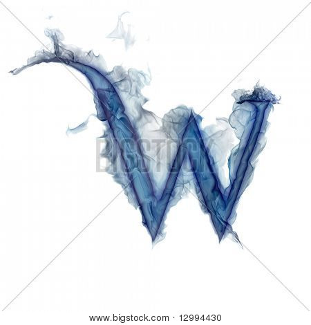 Letter W. Ink in water.